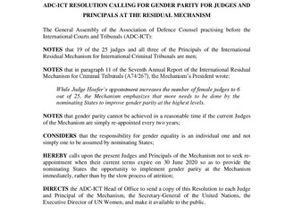 ADC General Assembly Resolution on Gender Parity for Judges and Principals of the Mechanism