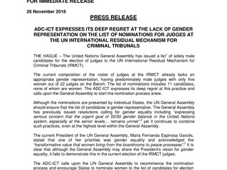 ADC-ICT Issues Press Release on Lack of Gender Representation on List of Nominations for Judges at t