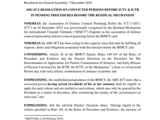 ADC-ICT General Assembly Resolution on Early Release