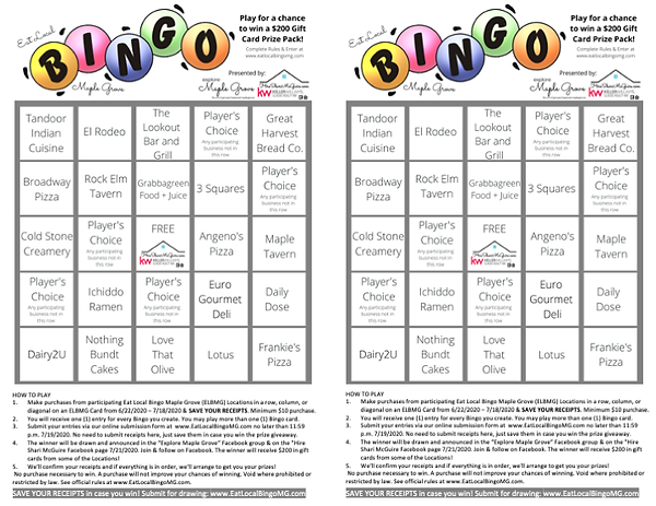 Bingo Cards - Eat Local MG - free space.
