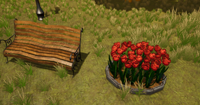 Bench/Tulips In Engine