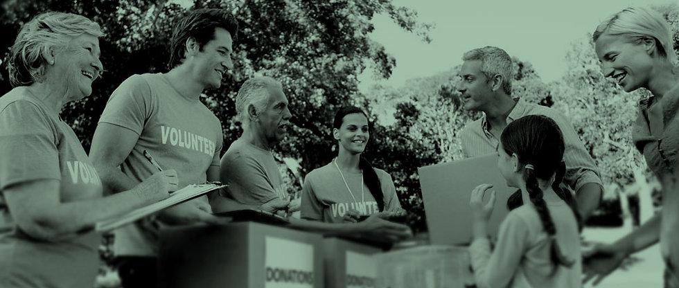 Volunteers at a non-profit event.