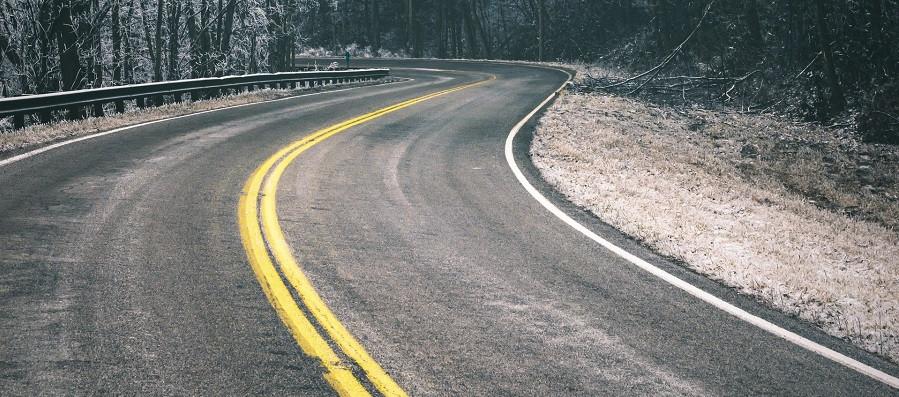 Winding road at winter