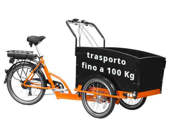 la canguro e-bike può trasportare fino a 100 Kg oltre al conducente