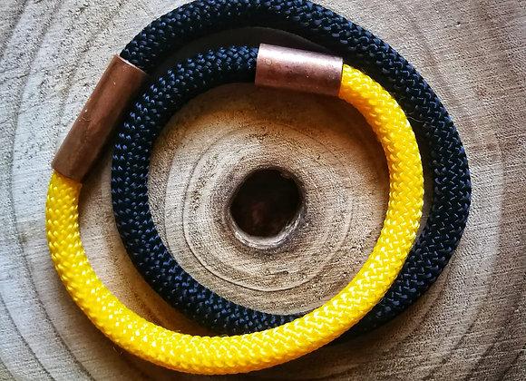 collana in corda nautica e inserto in rame