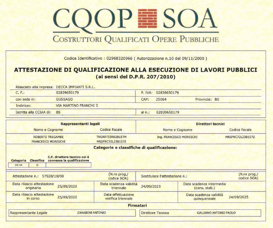 attestazione SOA Decca Impianti OS14 II.