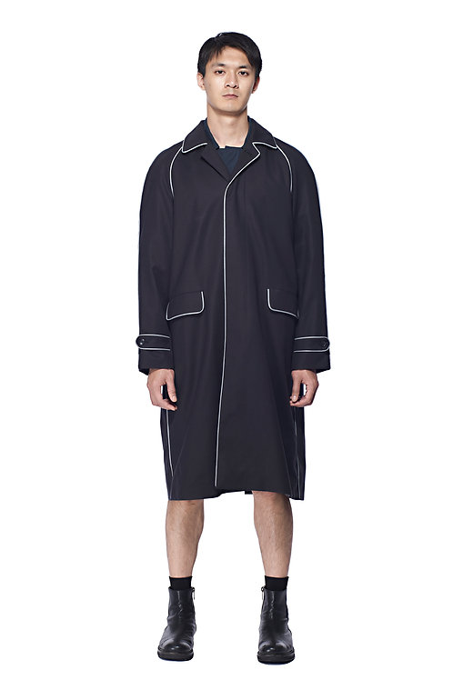 BLACK COTTON REFLECTIVE TRENCH