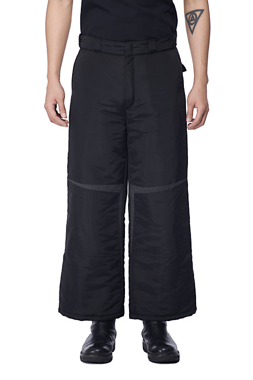 BLACK PADDED WORKER TROUSERS