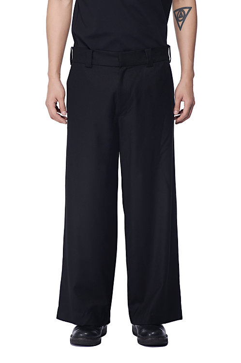 BLACK WOOL SUIT TROUSERS