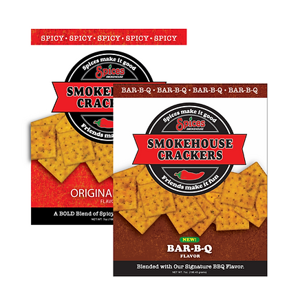 Smokehouse Crackers, Bar-B-Q and Original Spicy, 7oz bag
