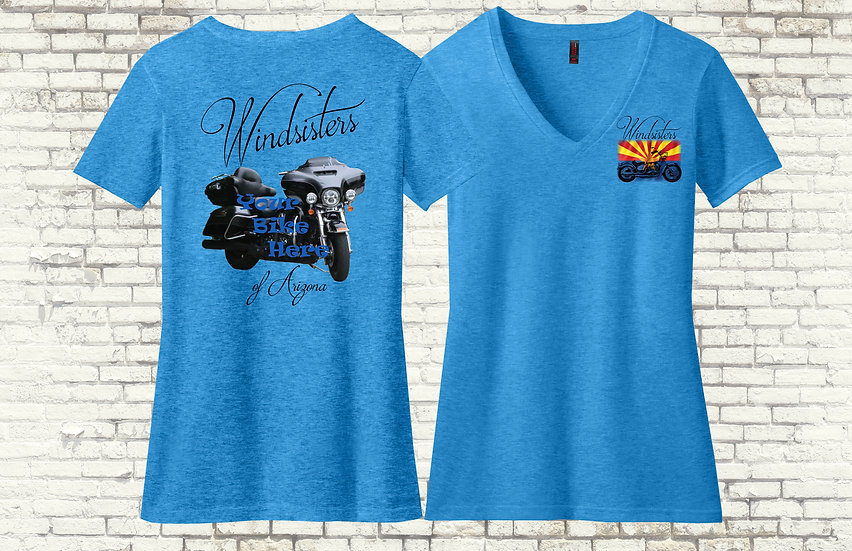 Custom Windsisters Short Sleeve V-Neck T-Shirt with Your Bike