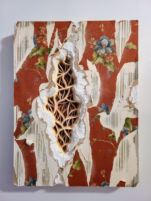 """Charles Clary , """"Cheese-a-Diddle Lamentation Movement #1,"""" 2020, hand cut paper and wallpaper on distressed drywall."""