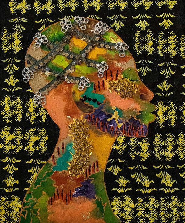 """April Fitzpatrick, """"Atlantic Senses,"""" 2020, mixed media on canvas."""