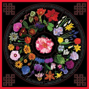 "Michele Evola Wagner, ""Botanical Garden Calendar,"" 2019, computer painting printed on silk/cotton."