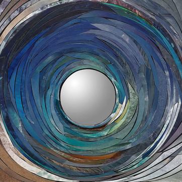 "Jennifer Deppe Parker, ""Big Fin Reef Squid,"" 2020, acrylic on board, hand-cut magazine papers, convex mirror, gel mediums."