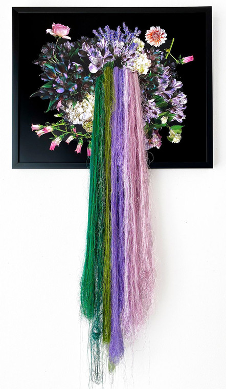 "Heidi Carlsen-Rogers, ""Garden (by a thread),"" 2020, photographic print on aluminum, silk, viscose, cotton, polyester thread."