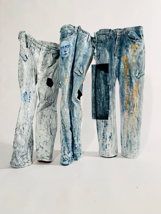 """Liam Perez, """"The Paradox of Three Figures,"""" 2020, oil paint and mixed media on textile."""