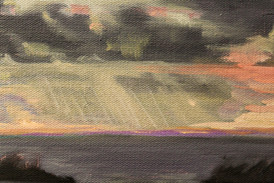 """Nicole Duet, """"Red Sky at Night,"""" 2020, Oil"""