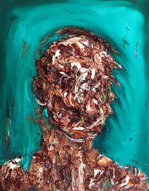 "Hugh Leeman, ""Names Erase My Face,"" 2020, oil paint on canvas."