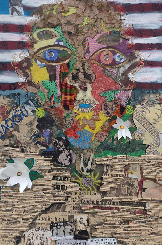 """April Fitzpatrick, """"Behind the Flag,"""" 2020, mixed media collage on wood."""