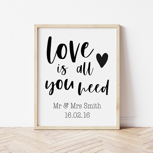 """""""love is all you need"""" Print"""