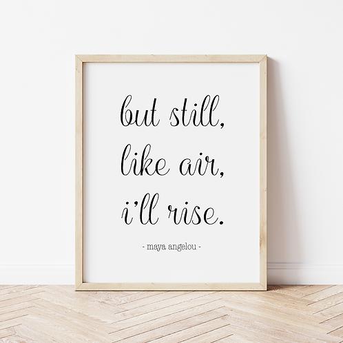 """""""I'll rise"""" calligraphy print"""