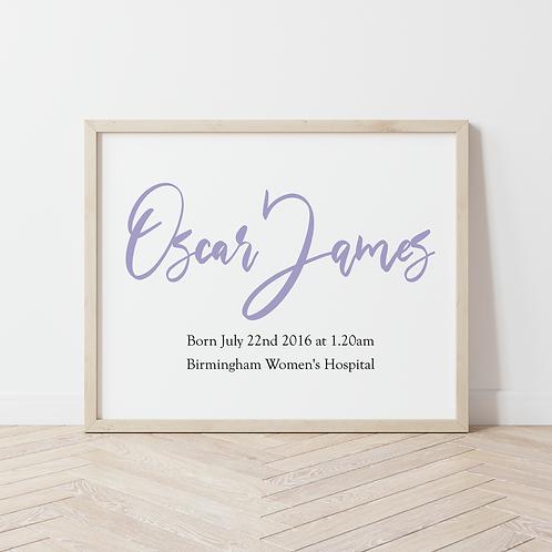 Birth Details Print