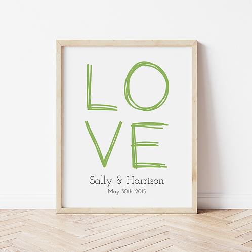 """Personalised """"Love"""" Print"""