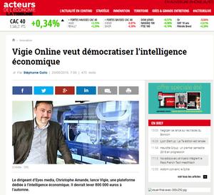 Christophe AMANDE présente VIGIE online (article acteurs de l'économie)