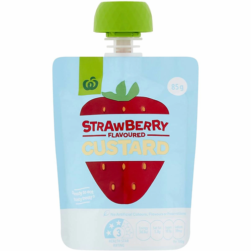 Woolworths Strawberry Flavoured Custard 85g x 6 Pack