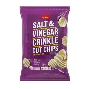Coles Salt & Vinegar Crinkle Cut Potato Chips 175g