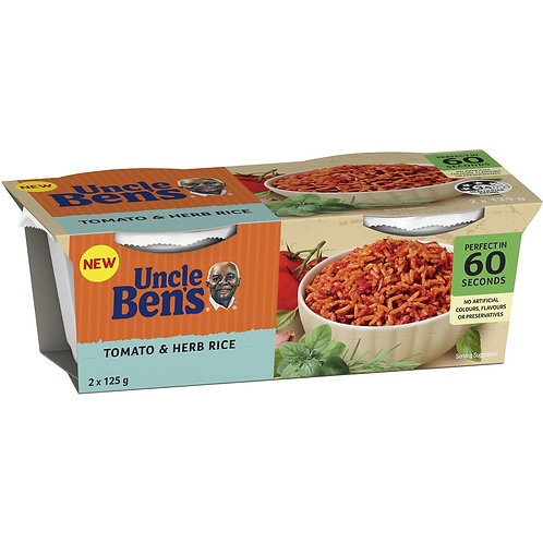Uncle Bens Tomato & Herb Rice Cup 2 x 125g