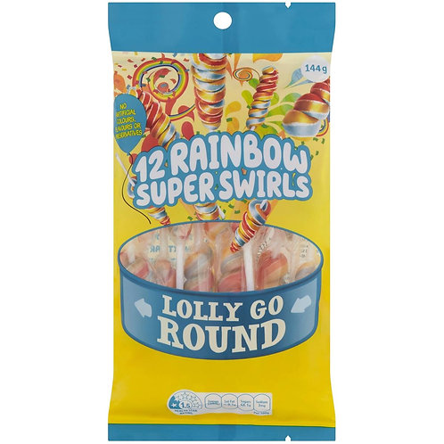 Rainbow Super Swirls Lolly 12 Pack 144g