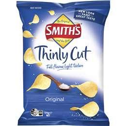 Smith's Thinly Cut Potato Chips Original 175g