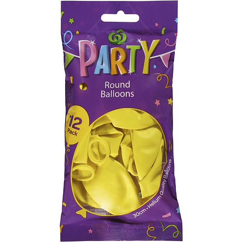 Woolworths Balloons Round Yellow 12 pack