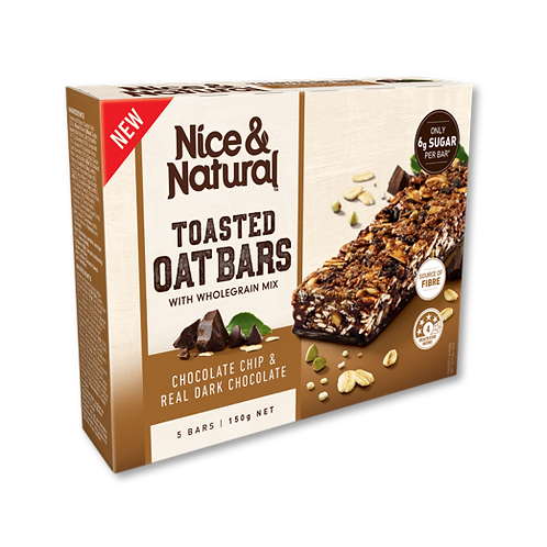 Nice & Natural Toasted Oat Bars 5 Pack Chocolate Chip & Real Dark Chocolate