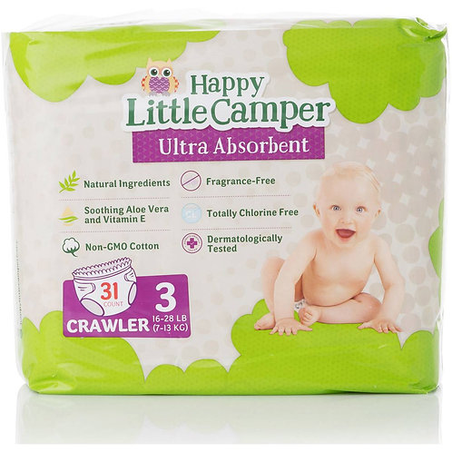 Happy Little Camper Crawler Natural Nappies 31 pack