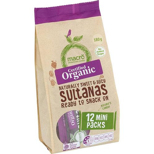 Macro Organic Mini Sultanas Pack 12 x 15g