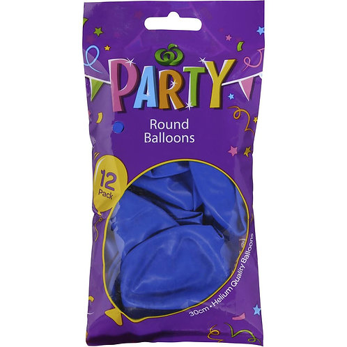 Woolworths Balloons Round Blue 12 pack