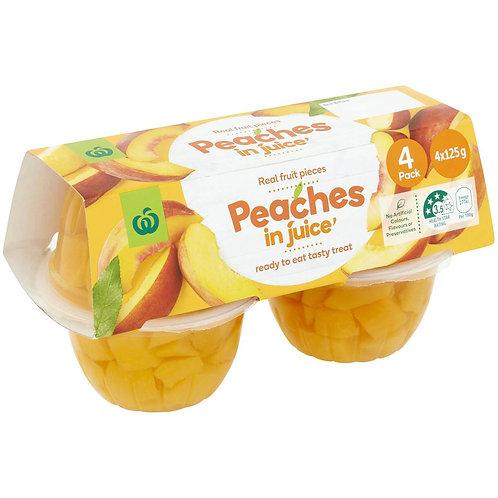 Woolworths Peach In Juice 4x125g