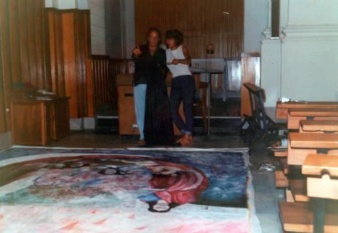 De ayudante... pintura para el altar mayor de una iglesia en Murcia.