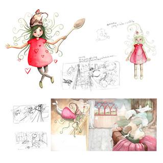 Diseño de personaje y bocetos de ilustración para cuento infantil.