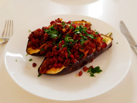 Aubergine with lamb and pomegranate