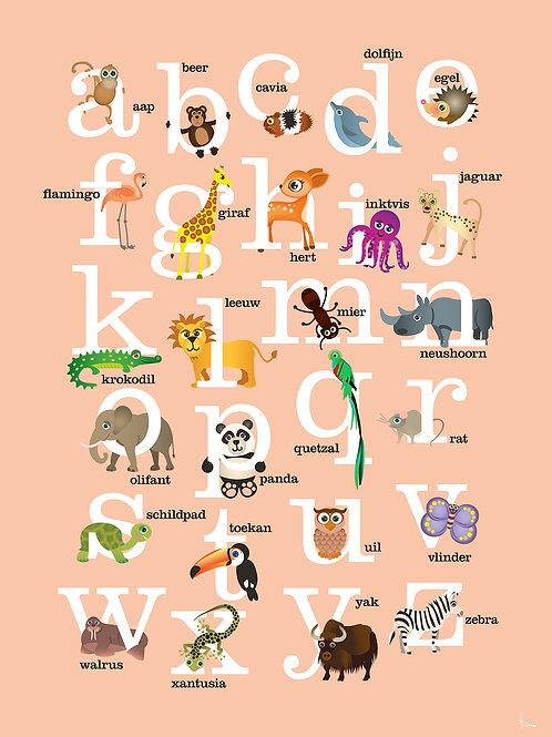 ABC met dieren (roze)