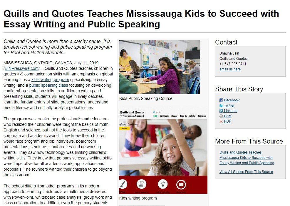 Quills and Quotes Mississauga Program