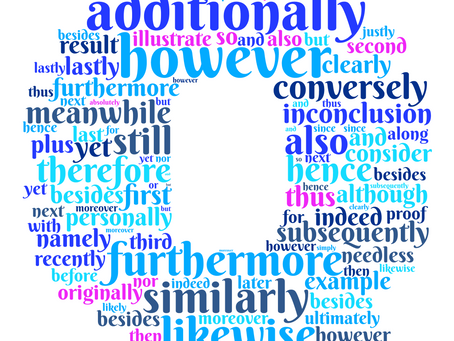Transition Words in a Word Cloud by Quills and Quotes