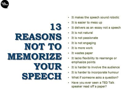 13 Reasons NOT to Memorize Your Speech