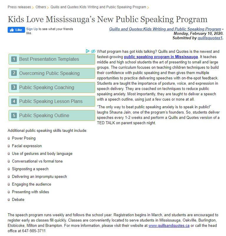 Kids Public Speaking Program