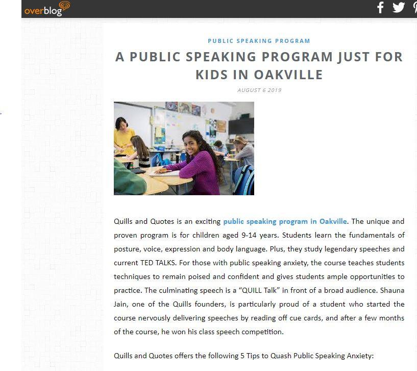 Quills and Quotes Best Public Speaking Program