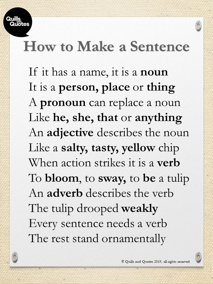 Poem how to make a sentence